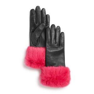 AQUA Fur Cuff Leather Tech Gloves SMALL